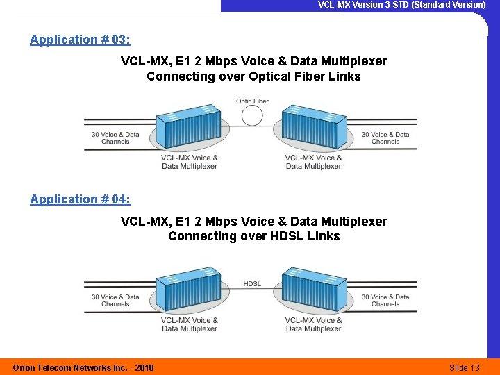 VCL-MX Version 3 -STD (Standard Version) Application # 03: VCL-MX, E 1 2 Mbps