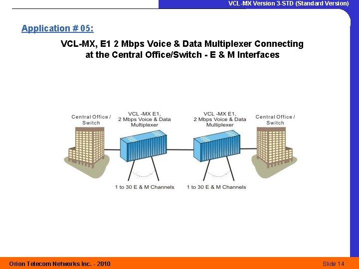 VCL-MX Version 3 -STD (Standard Version) Application # 05: VCL-MX, E 1 2 Mbps