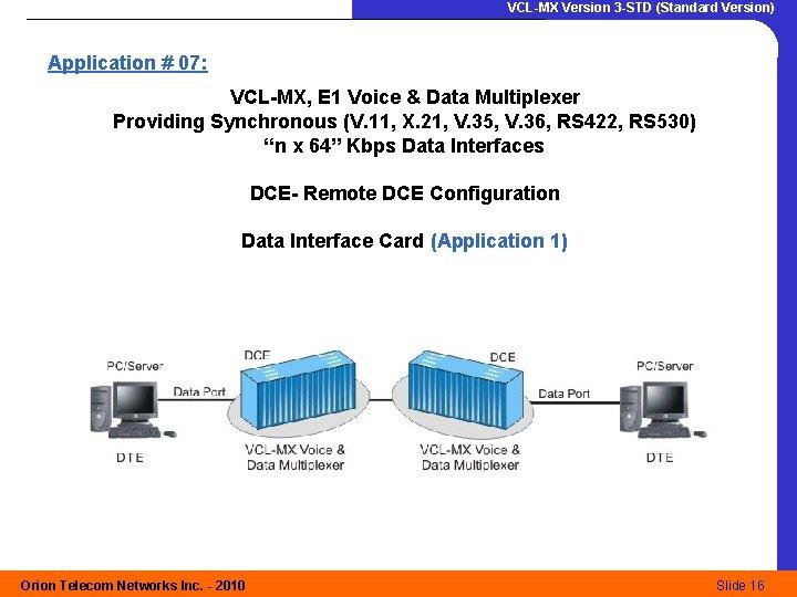 VCL-MX Version 3 -STD (Standard Version) Application # 07: VCL-MX, E 1 Voice &