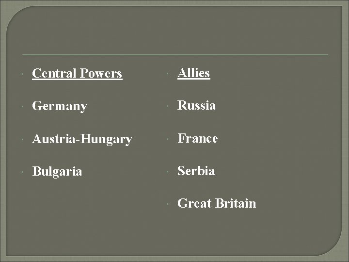 Central Powers Allies Germany Russia Austria-Hungary France Bulgaria Serbia Great Britain