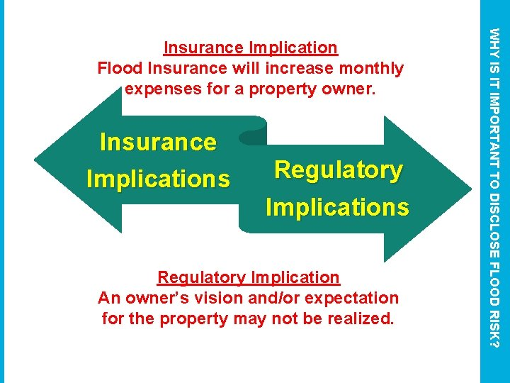 Insurance Implications Regulatory Implication An owner's vision and/or expectation for the property may not
