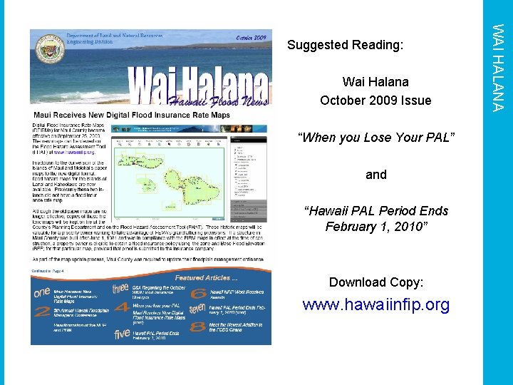 """Wai Halana October 2009 Issue """"When you Lose Your PAL"""" and """"Hawaii PAL Period"""