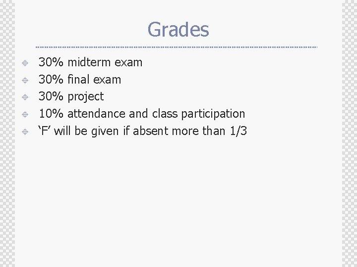 Grades ± ± ± 30% midterm exam 30% final exam 30% project 10% attendance