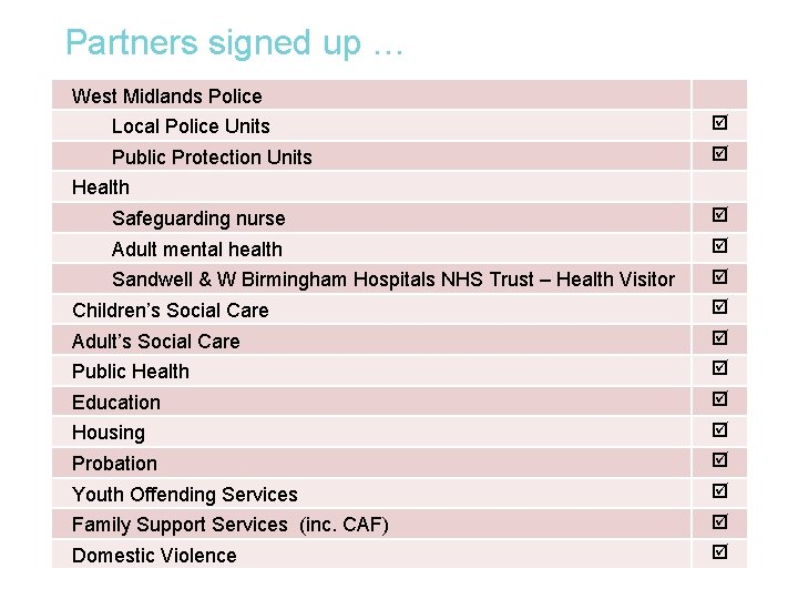 Partners signed up … West Midlands Police Local Police Units Public Protection Units Health
