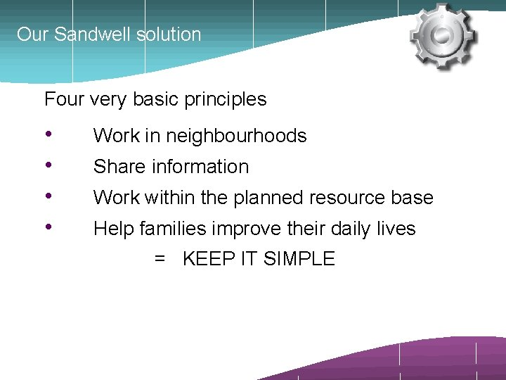 Our Sandwell solution Four very basic principles • • Work in neighbourhoods Share information