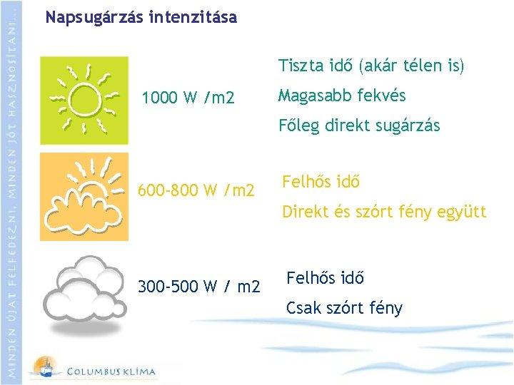 Napsugárzás intenzitása Tiszta idő (akár télen is) 1000 W /m 2 Magasabb fekvés Főleg