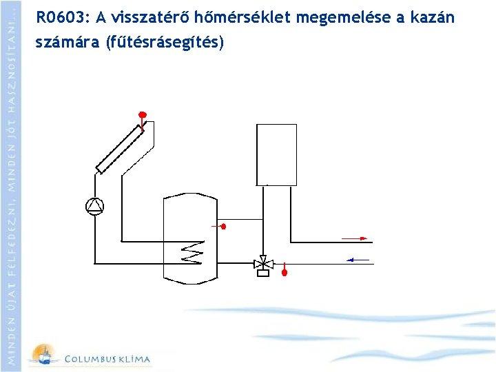 R 0603: A visszatérő hőmérséklet megemelése a kazán számára (fűtésrásegítés)