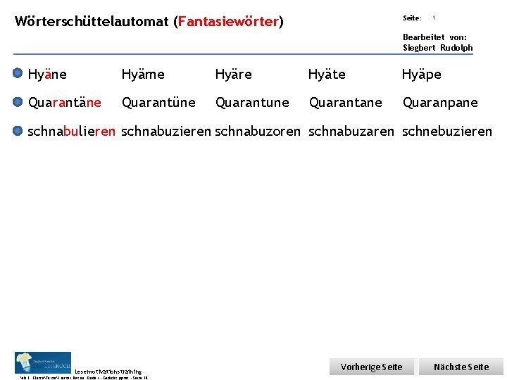 Übungsart: Wörterschüttelautomat (Fantasiewörter) Seite: 9 Bearbeitet von: Siegbert Rudolph Hyäne Hyäme Hyäre Hyäte Hyäpe