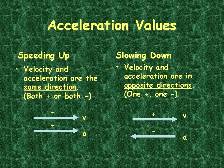 Acceleration Values Slowing Down Speeding Up • Velocity and acceleration are the same direction.