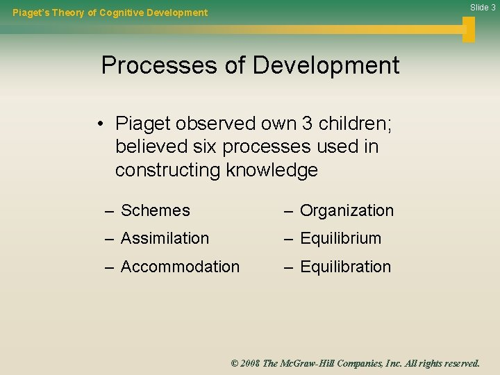 Slide 3 Piaget's Theory of Cognitive Development Processes of Development • Piaget observed own
