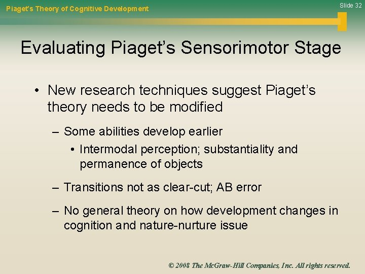 Slide 32 Piaget's Theory of Cognitive Development Evaluating Piaget's Sensorimotor Stage • New research