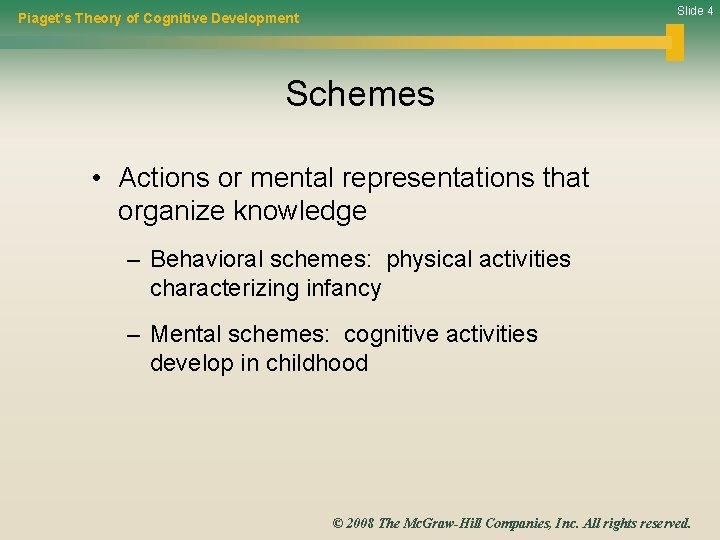 Slide 4 Piaget's Theory of Cognitive Development Schemes • Actions or mental representations that