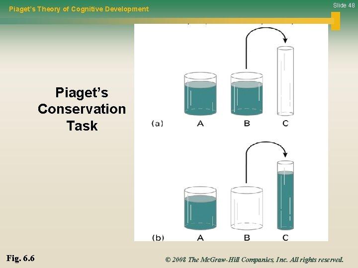 Piaget's Theory of Cognitive Development Slide 48 Piaget's Conservation Task Fig. 6. 6 ©