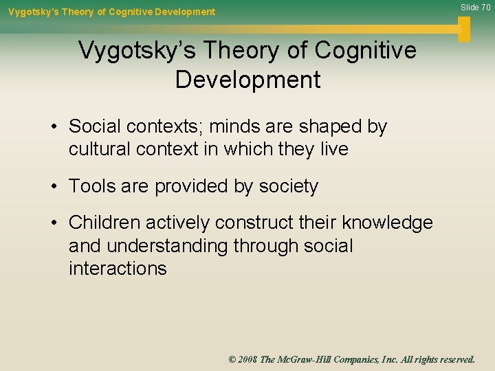Slide 70 Vygotsky's Theory of Cognitive Development • Social contexts; minds are shaped by
