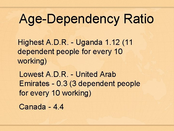 Age-Dependency Ratio Highest A. D. R. - Uganda 1. 12 (11 dependent people for