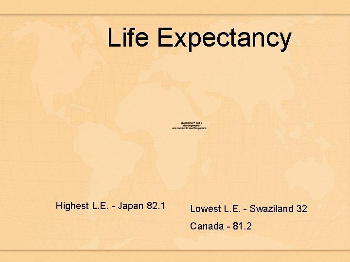 Life Expectancy Highest L. E. - Japan 82. 1 Lowest L. E. - Swaziland