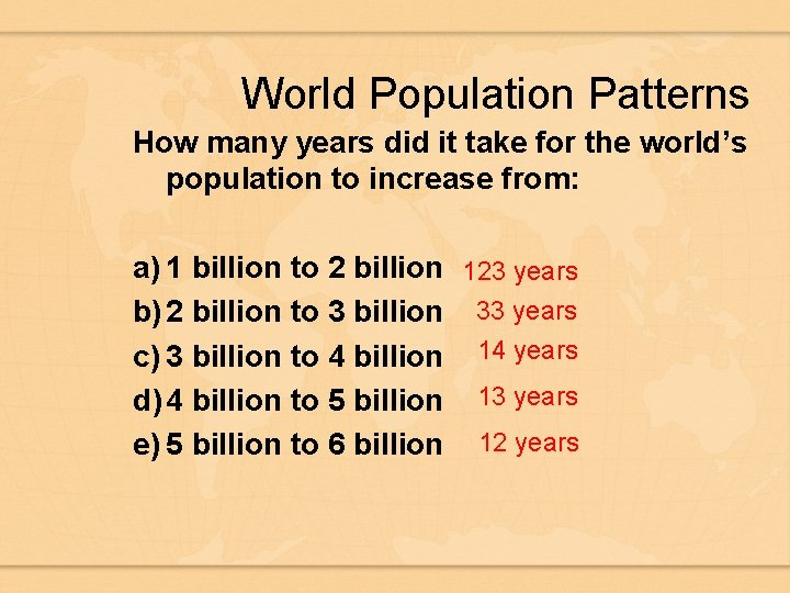 World Population Patterns How many years did it take for the world's population to