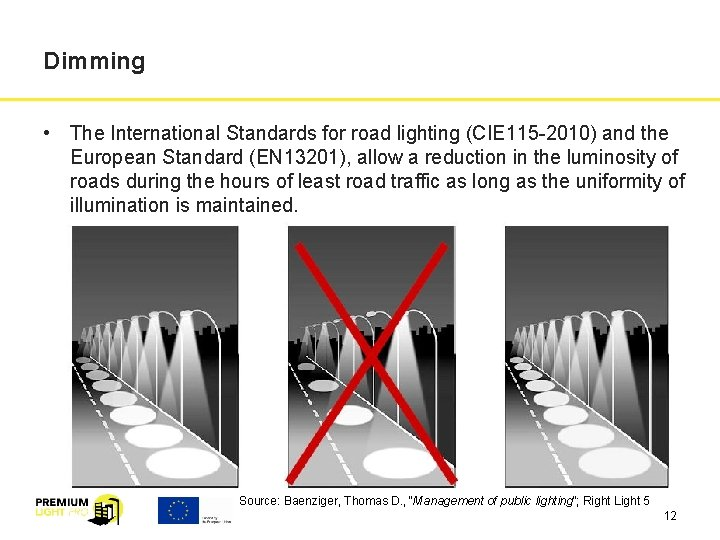 Dimming • The International Standards for road lighting (CIE 115 -2010) and the European