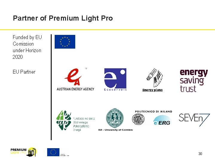 Partner of Premium Light Pro Funded by EU Comission under Horizon 2020 EU Partner
