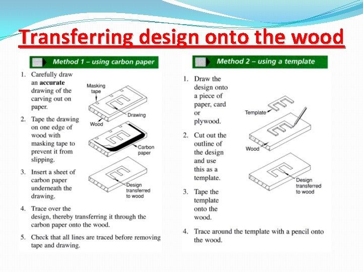 Transferring design onto the wood