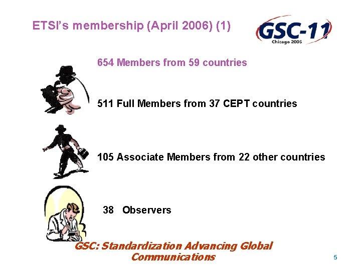 ETSI's membership (April 2006) (1) 654 Members from 59 countries 511 Full Members from