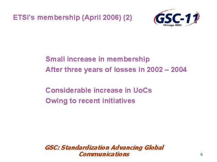 ETSI's membership (April 2006) (2) Small increase in membership After three years of losses
