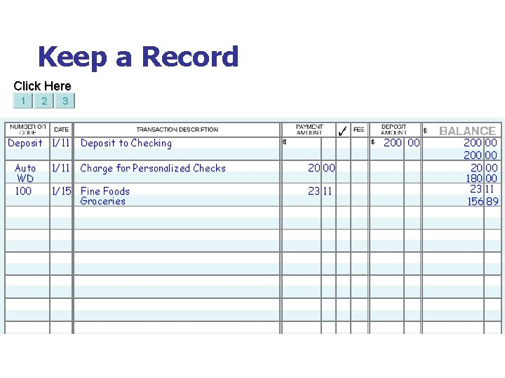 Keep a Record Click Here 1 2 3 Deposit 1/11 Auto WD 100 1/11