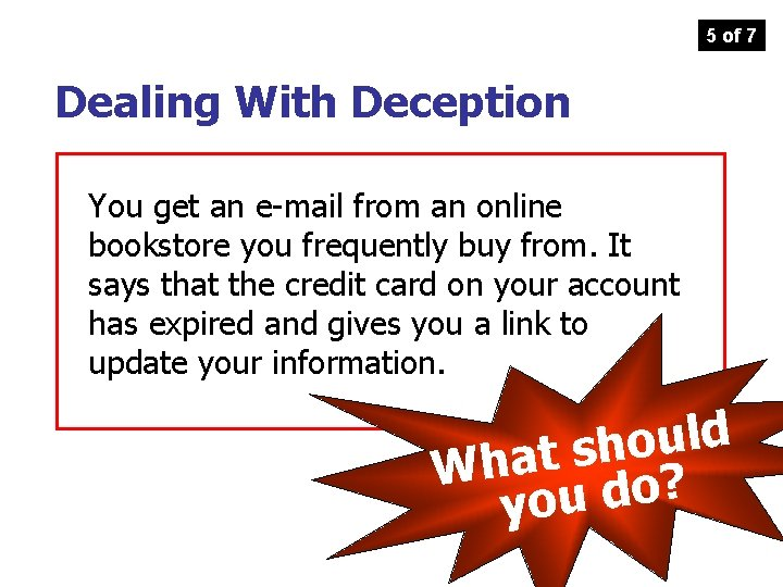 5 of 7 Dealing With Deception You get an e-mail from an online bookstore