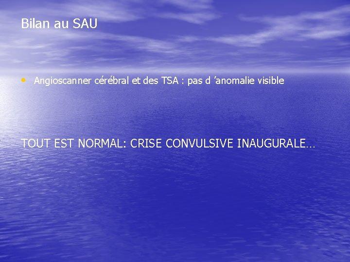 Bilan au SAU • Angioscanner cérébral et des TSA : pas d 'anomalie visible