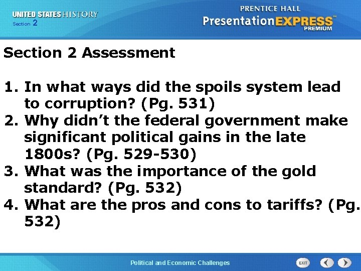 Chapter Section 2 25 Section 1 Section 2 Assessment 1. In what ways did