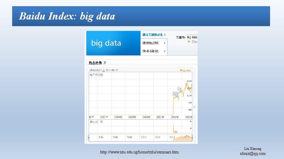 Baidu Index: big data http: //www. ntu. edu. sg/home/rxlu/seminars. htm Liu Ximeng nbnix@qq. com