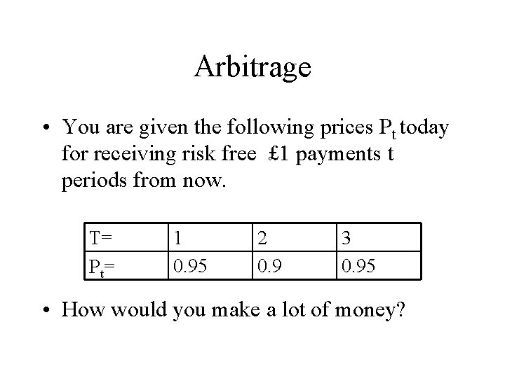 Arbitrage • You are given the following prices Pt today for receiving risk free