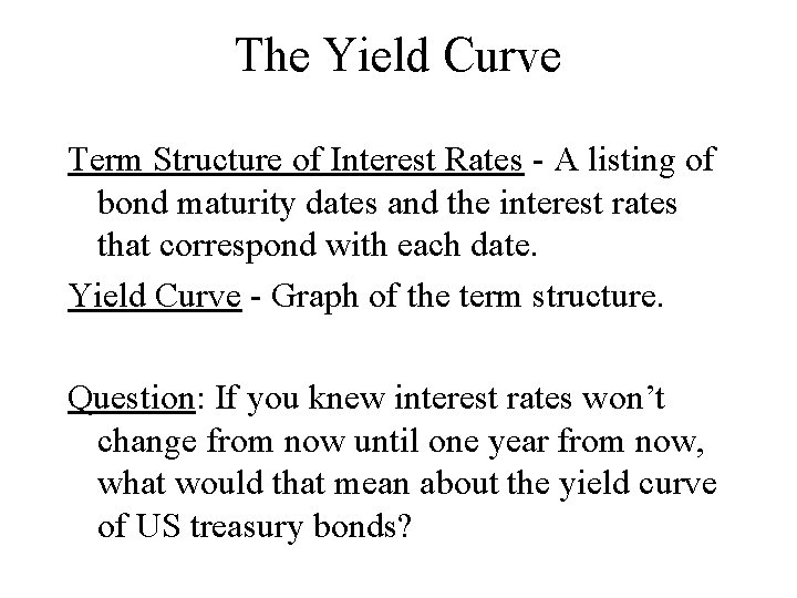 The Yield Curve Term Structure of Interest Rates - A listing of bond maturity