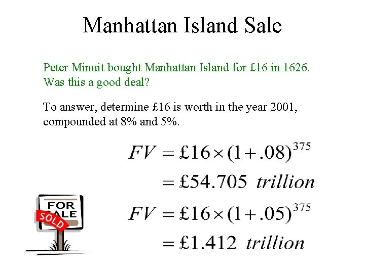Manhattan Island Sale Peter Minuit bought Manhattan Island for £ 16 in 1626. Was