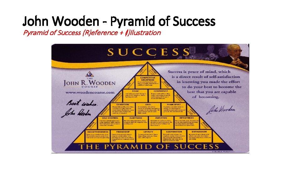 John Wooden - Pyramid of Success (R)eference + (I)llustration