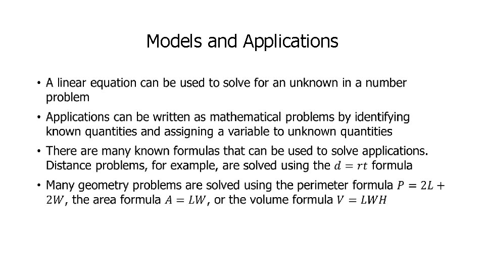 Models and Applications •