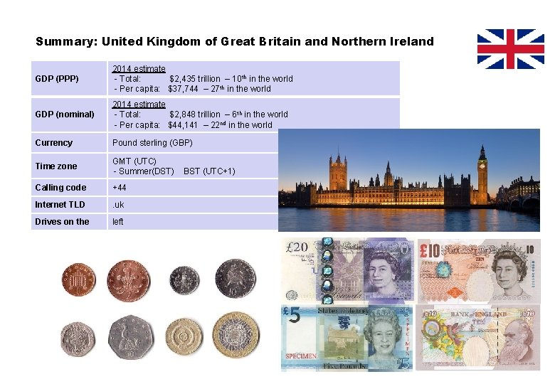 Summary: United Kingdom of Great Britain and Northern Ireland GDP (PPP) 2014 estimate -
