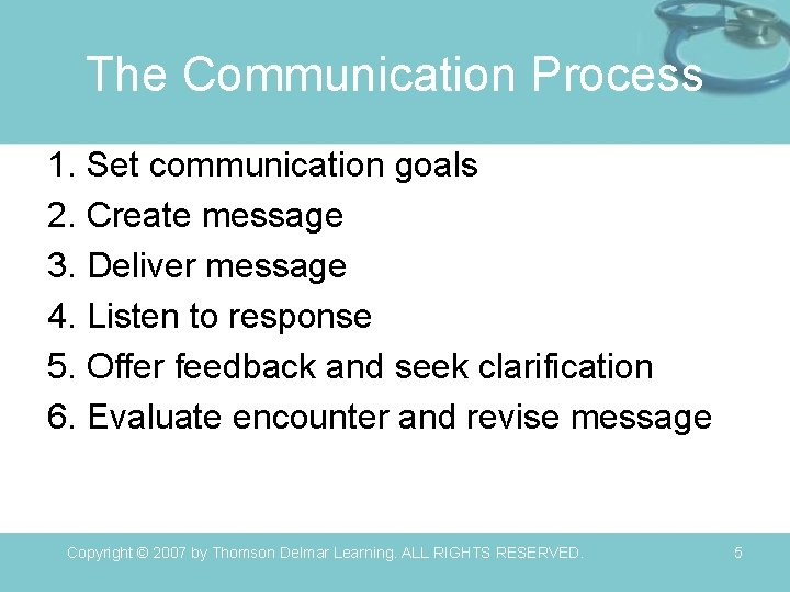 The Communication Process 1. Set communication goals 2. Create message 3. Deliver message 4.
