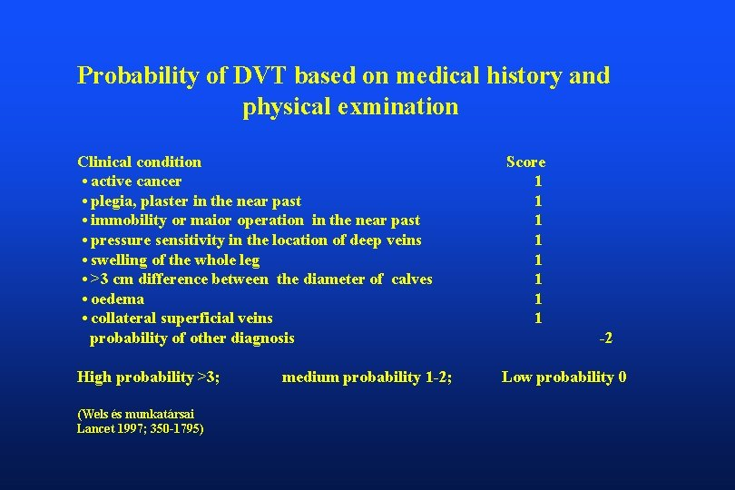 Probability of DVT based on medical history and physical exmination Clinical condition • active