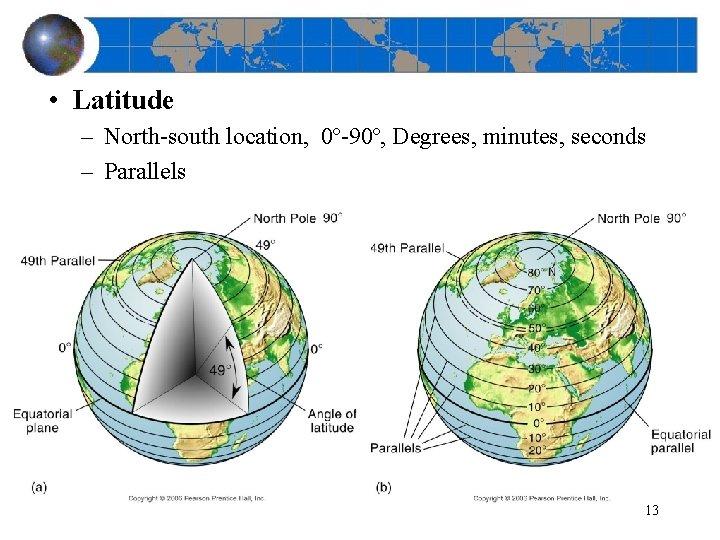 • Latitude – North-south location, 0º-90º, Degrees, minutes, seconds – Parallels 13