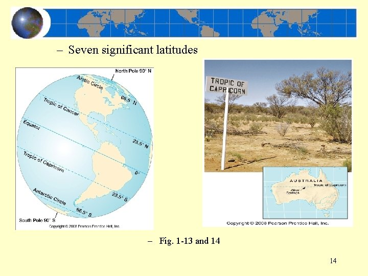 – Seven significant latitudes – Fig. 1 -13 and 14 14