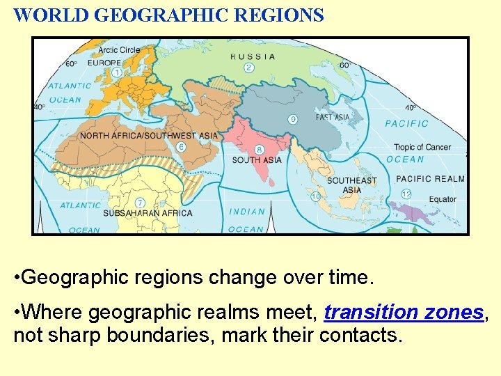 WORLD GEOGRAPHIC REGIONS • Geographic regions change over time. • Where geographic realms meet,
