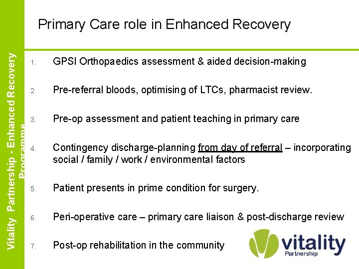 Enhanced Vitality Partnership Recovery Partnership - Enhanced. Programme Recovery Programme Primary Care role in