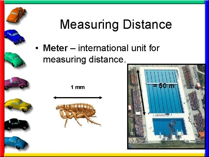 Measuring Distance • Meter – international unit for measuring distance. 1 mm = 50