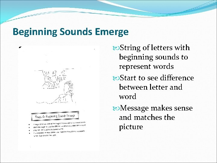 Beginning Sounds Emerge String of letters with beginning sounds to represent words Start to