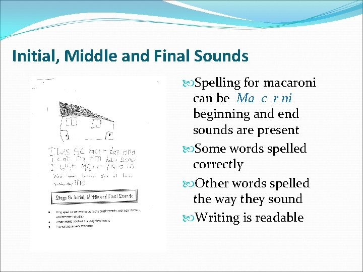 Initial, Middle and Final Sounds Spelling for macaroni can be Ma c r ni