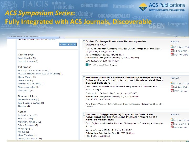 ACS Symposium Series: Fully Integrated with ACS Journals, Discoverable