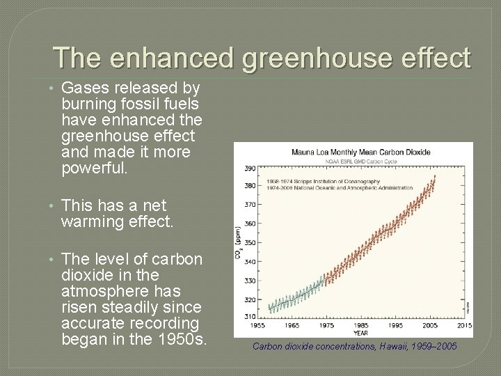 The enhanced greenhouse effect • Gases released by burning fossil fuels have enhanced the