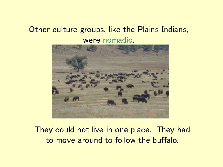 Other culture groups, like the Plains Indians, were nomadic. They could not live in
