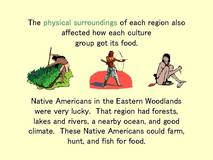 The physical surroundings of each region also affected how each culture group got its